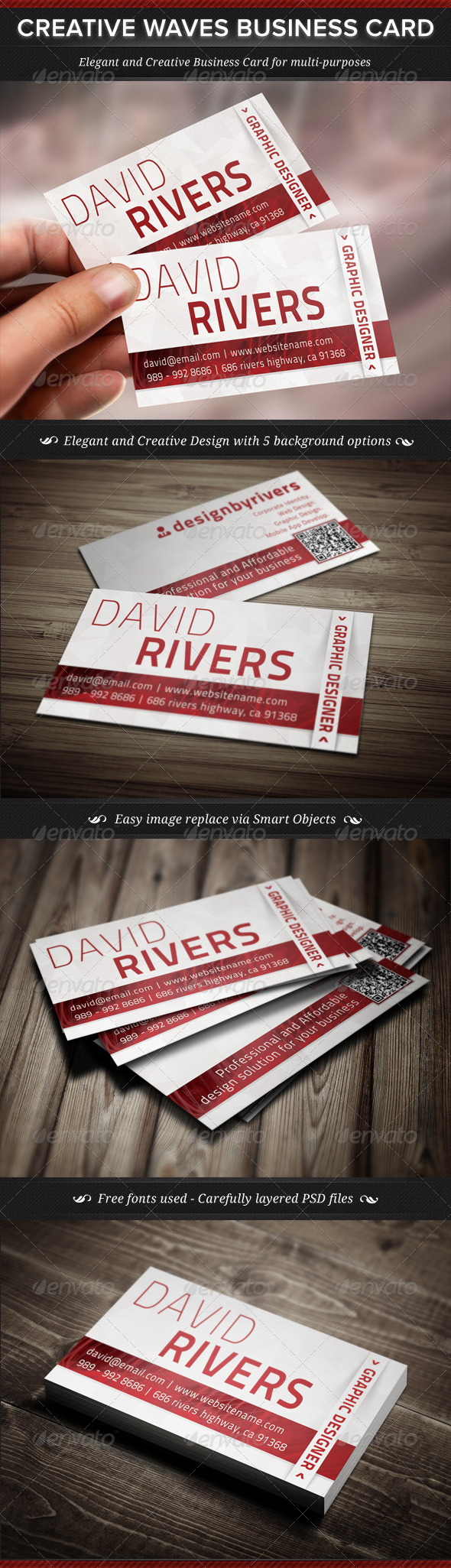 Creative Waves Corporate Business Card - Corporate Business Cards