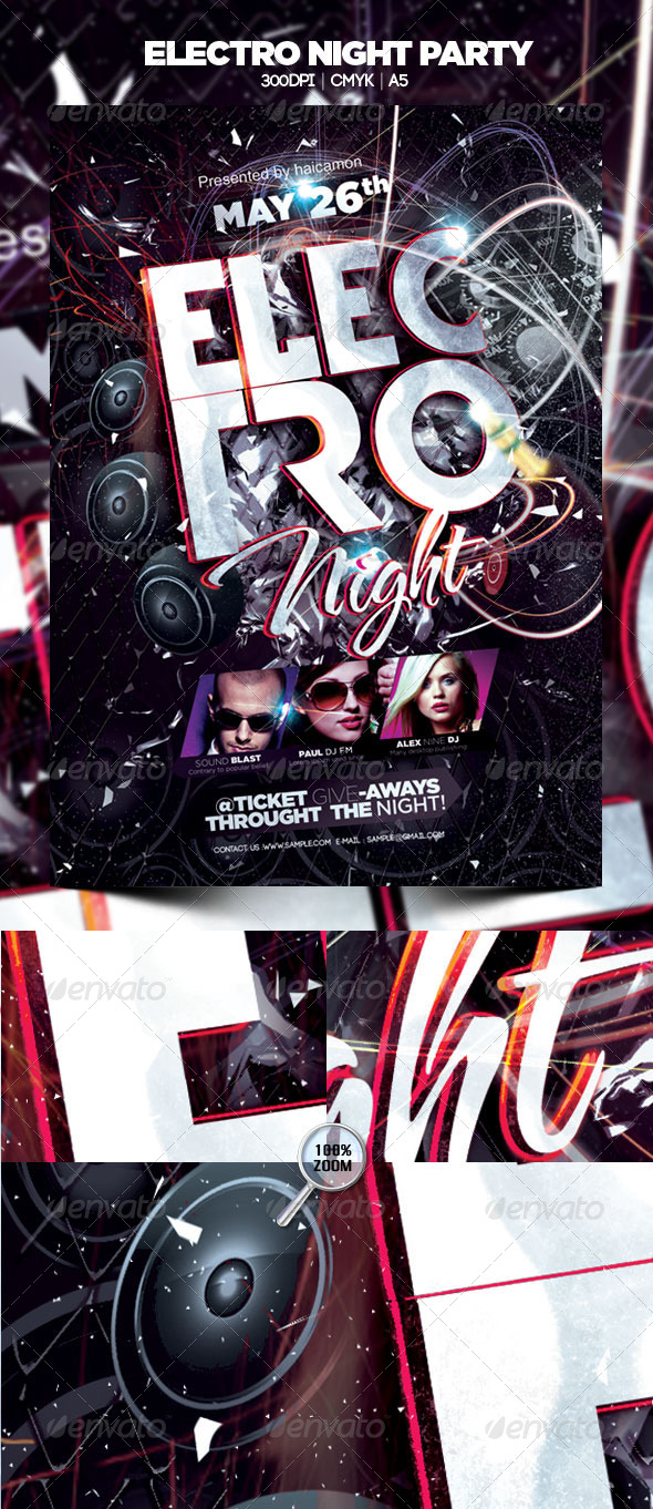 Electro Night Party - Flyers Print Templates