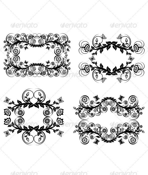 Set of  Black Floral Frames - Borders Decorative