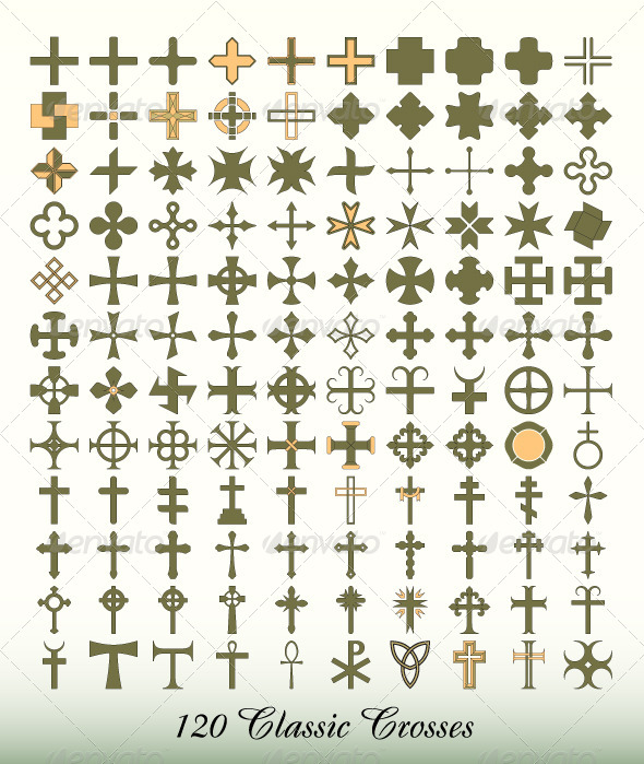 Collection of 120 Isolated Classic Crosses - Religion Conceptual