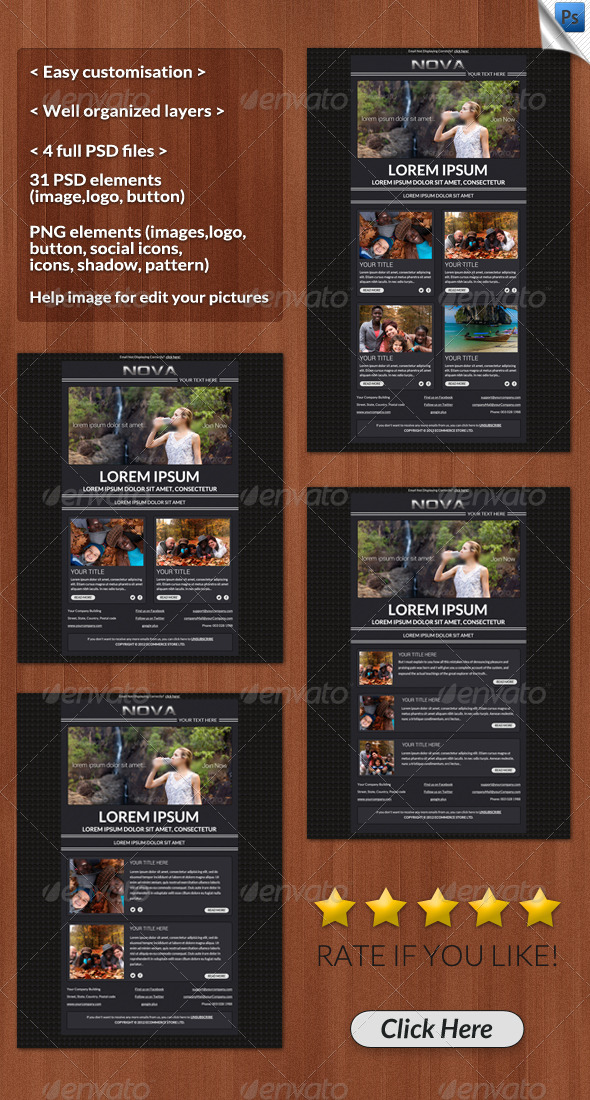 Nova Email Template - E-newsletters Web Elements