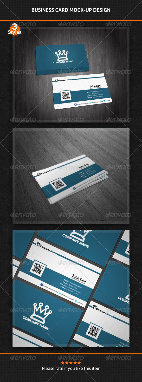 Business Card Mock-Up Pack - 3 Styles - Business Cards Print