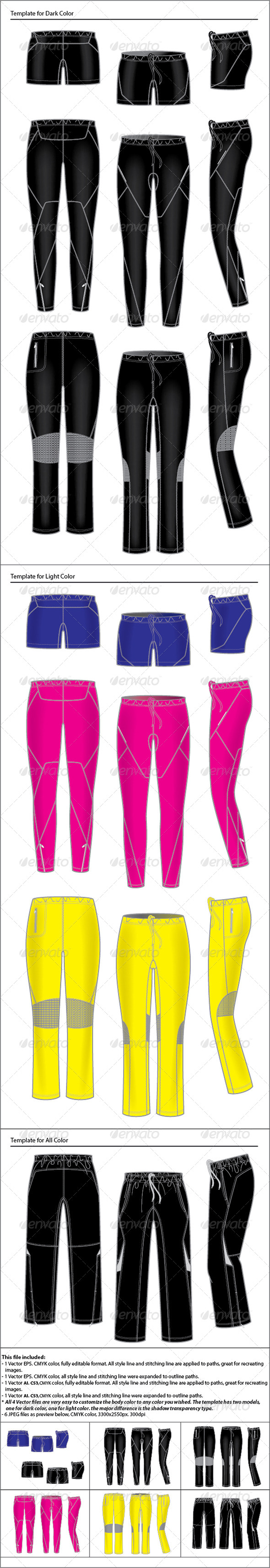 Womens Active Wear Template Pants - Conceptual Vectors