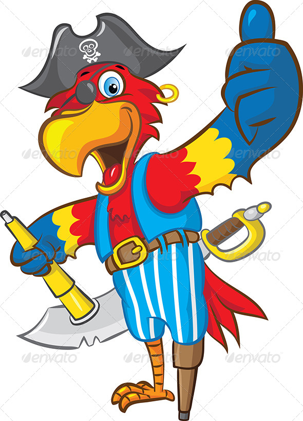 Pirate Parrot Mascot - Animals Characters