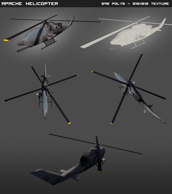 Apache Helicopter lowpoly - 3DOcean Item for Sale