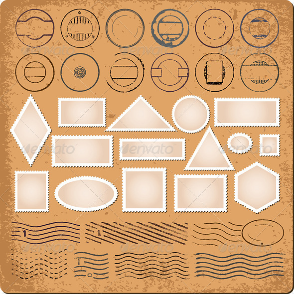 Blank Borders and Grunge Rubber Stamps Vector - Backgrounds Decorative