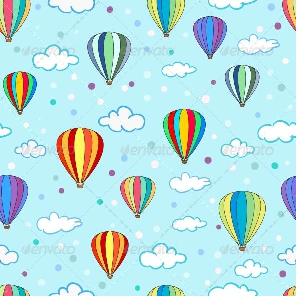 Seamless Hot Air Balloon Pattern - Patterns Decorative