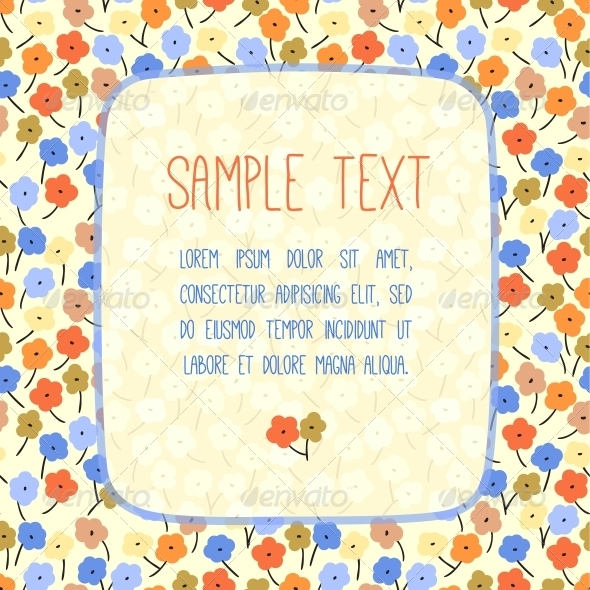 Hand Drawn Vector Card Template with Flowers - Miscellaneous Vectors