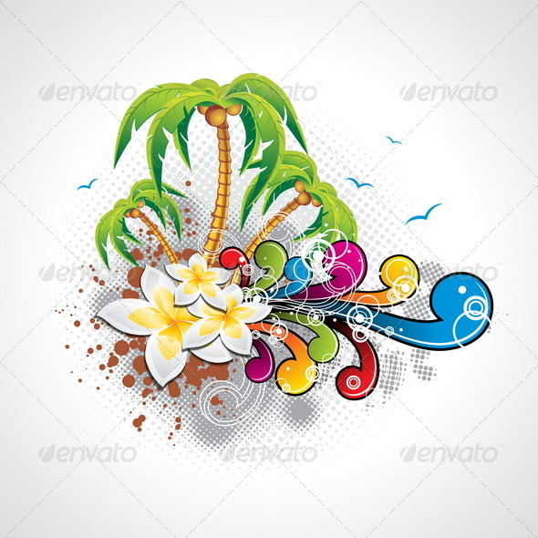 Vector Summer Holiday Design with Palm Trees - Travel Conceptual
