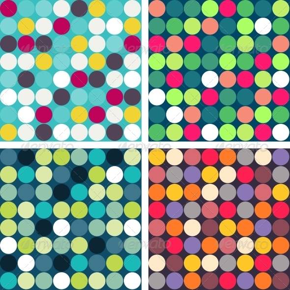 Set of 4 Colorful Vector Seamless Patterns - Patterns Decorative