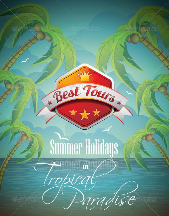 Summer Holiday Flyer Design with Palm Trees - Seasons/Holidays Conceptual