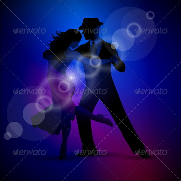 Vector Design with Couple Dancing Tango - People Characters