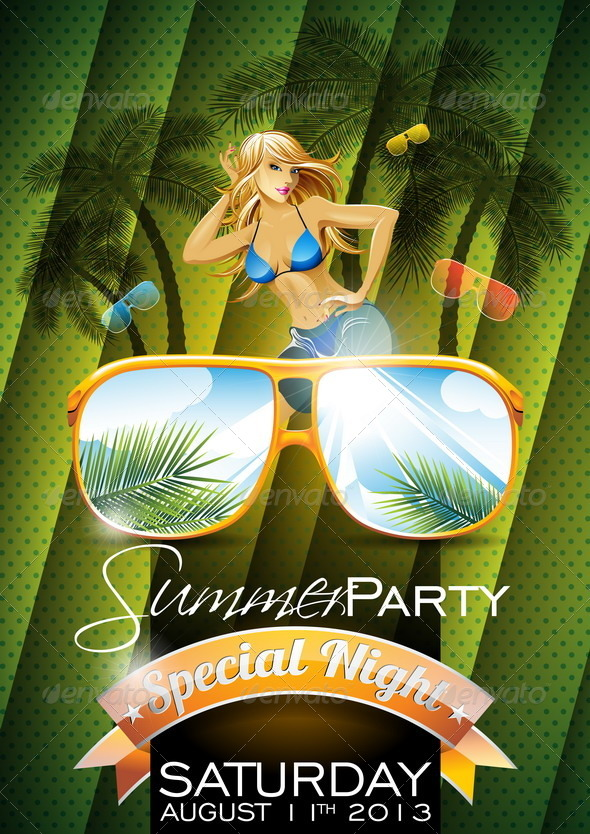 Summer Beach Party Flyer Design - People Characters