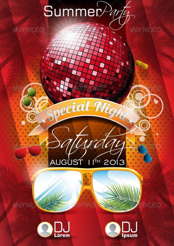 Vector Summer Beach Party Flyer Design with Disco  - Technology Conceptual