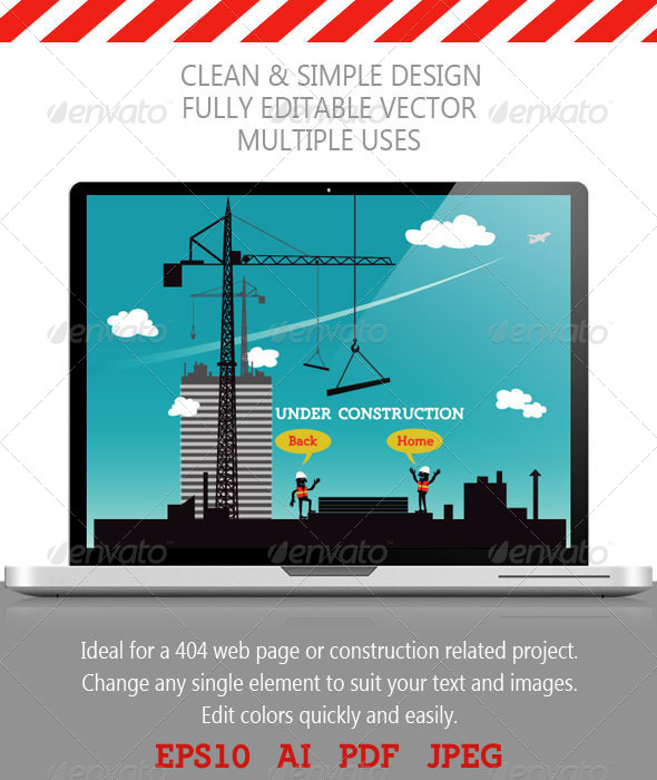 Construction Site; Under Construction Page - 404 Pages Web Elements