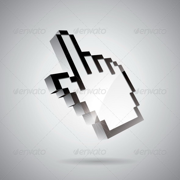 Technology Illustration with Shiny Hand Pointer - Web Technology