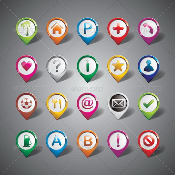 Vector Pointer Icon Set on Gray Background.  - Travel Conceptual