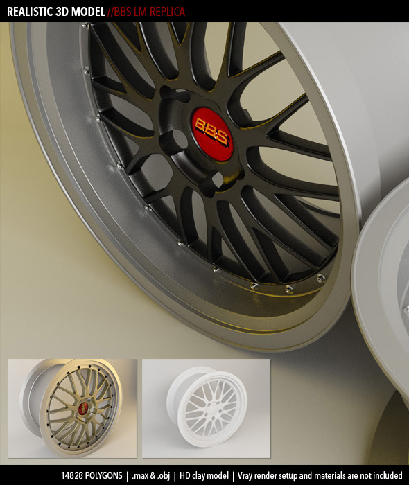 Realistic BBS LM Wheel Model - 3DOcean Item for Sale