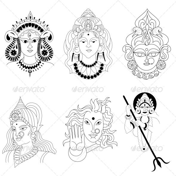 Hindu Goddess Religious Vector Designs Pack - Religion Conceptual