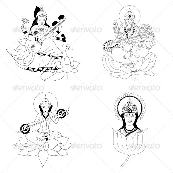 Hindu Goddess Saraswati - Vector Design Pack - Religion Conceptual
