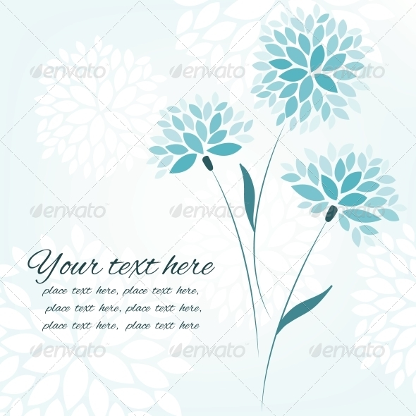 Vector Background with Three Flowers - Backgrounds Decorative