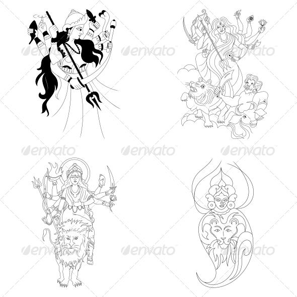 Hindu Goddess Durga Religious Vector Designs Pack - Religion Conceptual