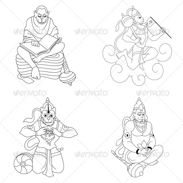 Hindu Lord Hanumaan Religious Vector Designs Pack - Religion Conceptual
