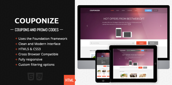 Couponize - Responsive Coupons and Promo Template