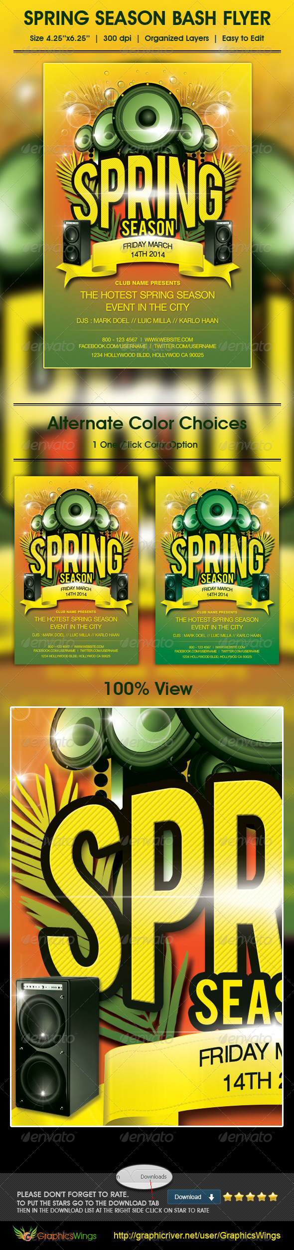 Spring Season Bash Flyer Template - Clubs & Parties Events