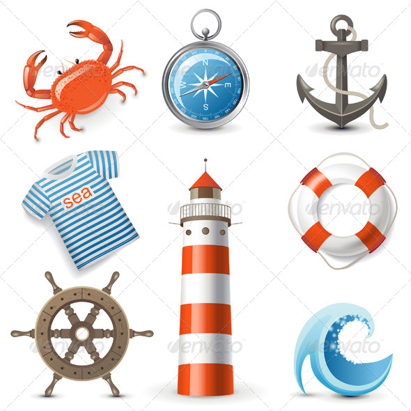 Sea Icons - Objects Vectors