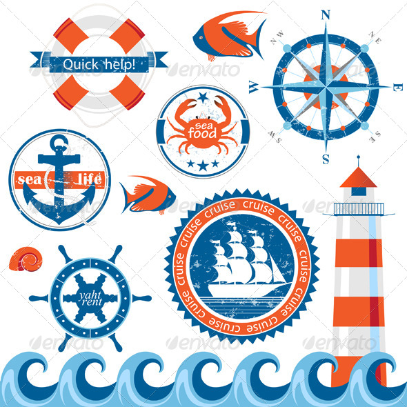 Sea Emblems - Web Elements Vectors