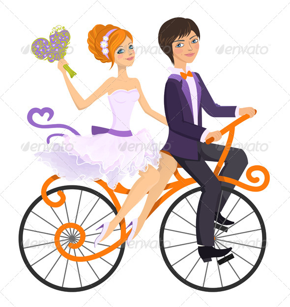 Couple in Love on Tandem Bicycle - People Characters