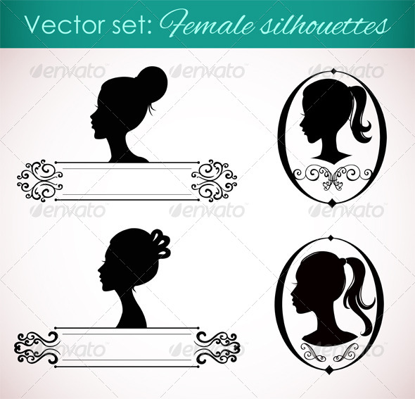 Set of Female Silhouettes in Retro Style - Decorative Symbols Decorative