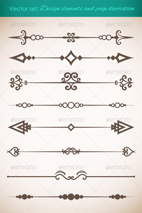Design Elements and Page Decorations Set - Decorative Symbols Decorative