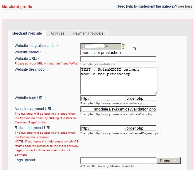 SwissMICSI Payment Module for prestashop
