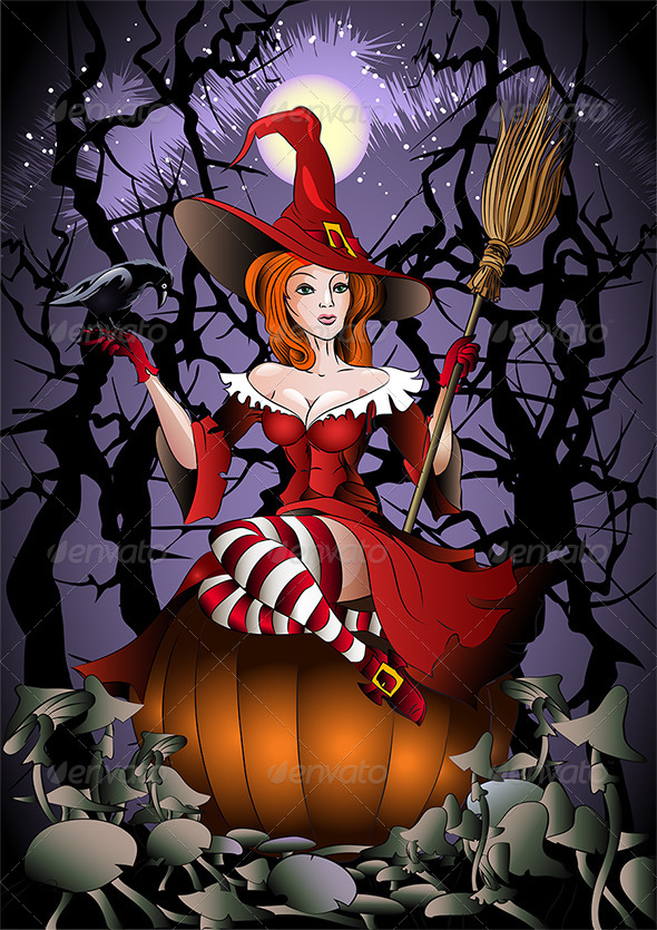 The Witch with a Crow - Halloween Seasons/Holidays