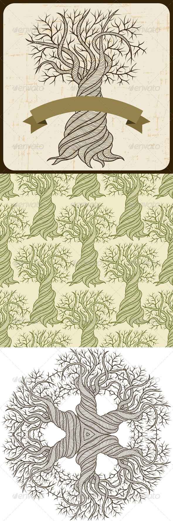 Backgrounds and seamless pattern with trees. - Flowers & Plants Nature