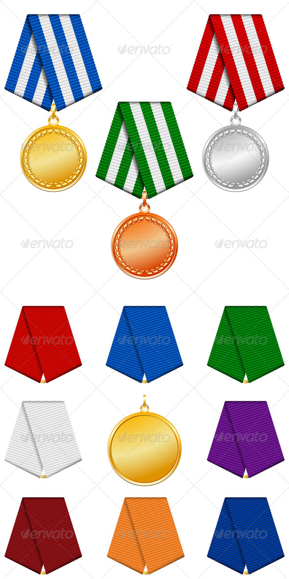 Gold, Silver and Bronze Medals on Ribbon. - Decorative Symbols Decorative