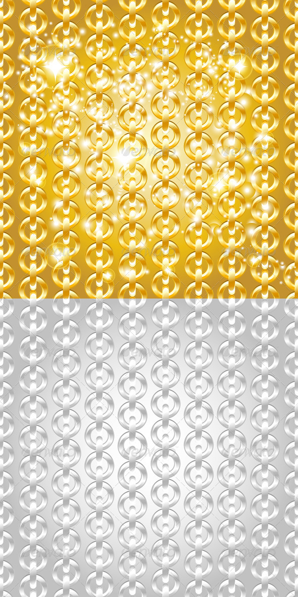 Gold and Silver Chain Seamless Abstract Patterns. - Patterns Decorative