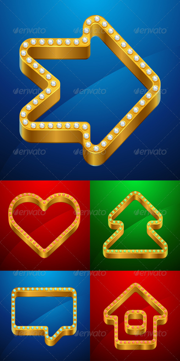 Gold Icons of House, Bubble, Heart, Tree. - Web Technology