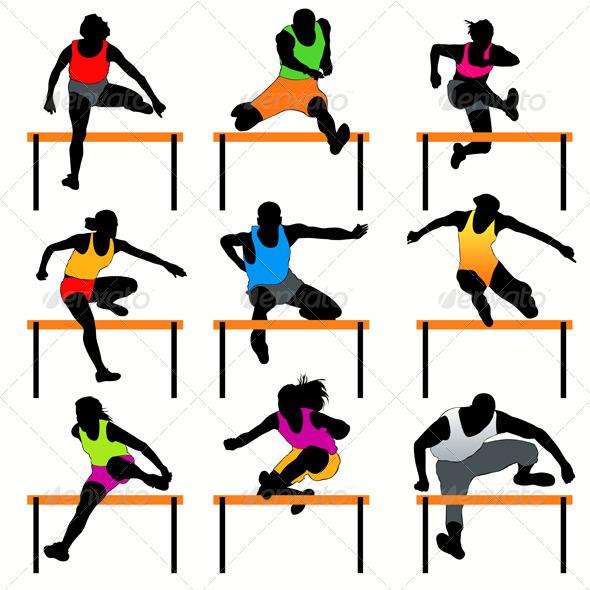 Hurdles Silhouettes Set - Sports/Activity Conceptual