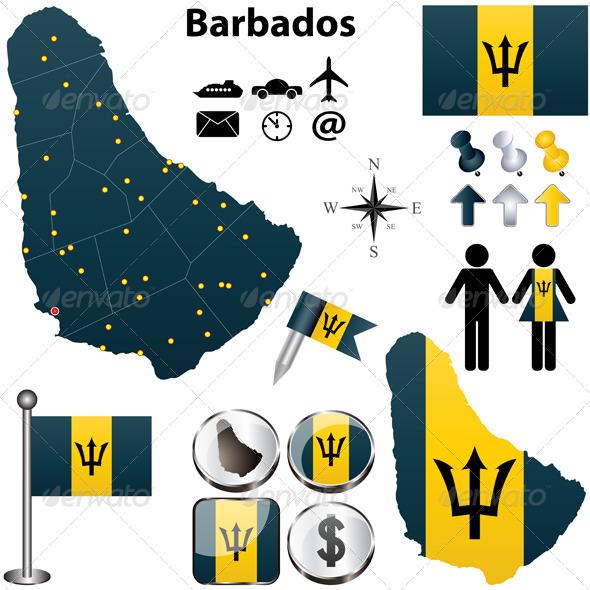 Barbados Map - Travel Conceptual