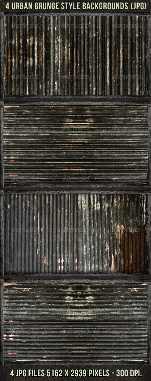 4 Urban Grunge with Wood Borders - Urban Backgrounds