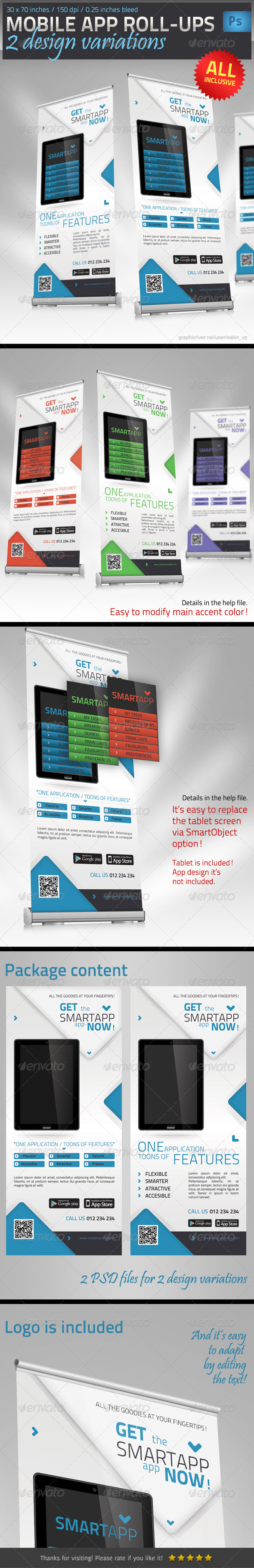Mobile App Promotion Roll-Up Template - Signage Print Templates