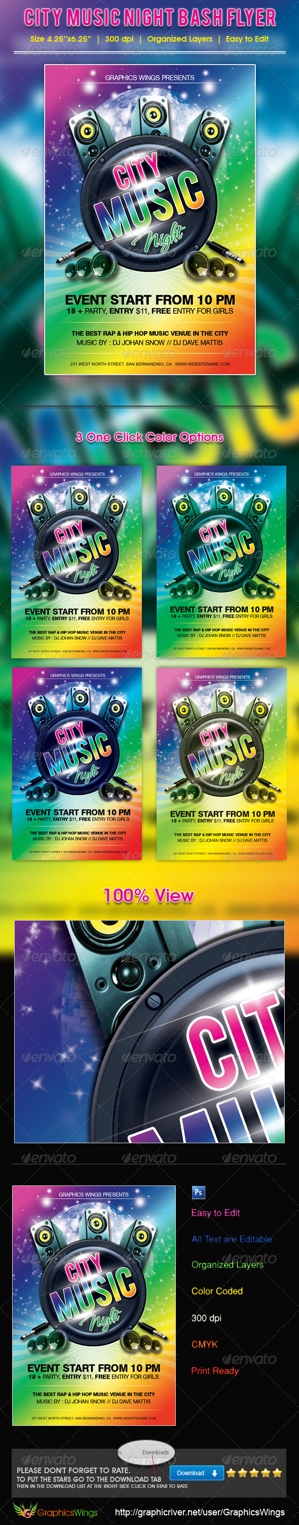 City Music Night Bash Flyer Template - Clubs & Parties Events