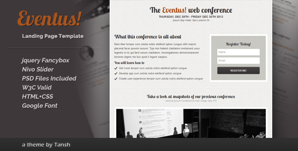 Free Download Eventus Landing Page Nulled Latest Version
