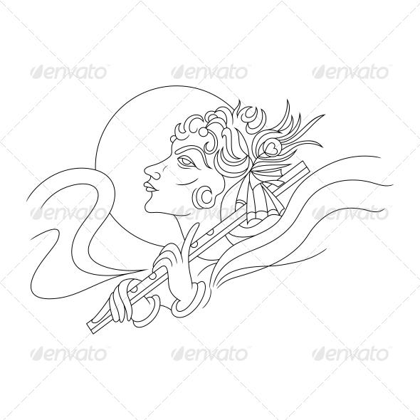 Hindu Lord Krishna Religious Vector Design - Religion Conceptual