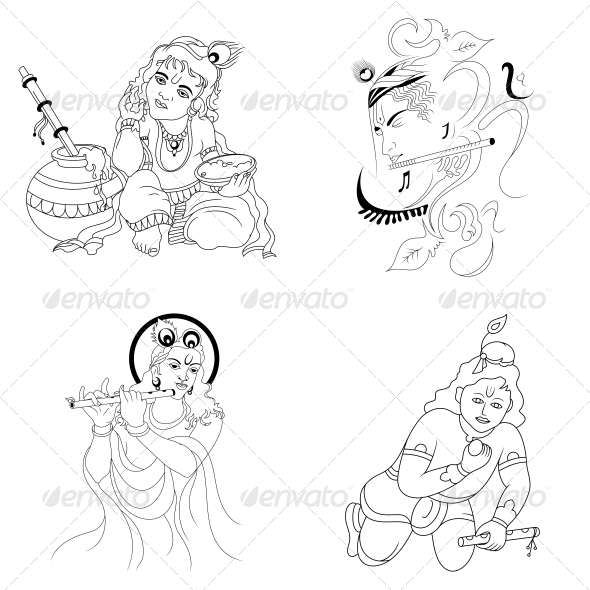 Hindu Lord Krishna Religious Vector Designs Pack - Religion Conceptual