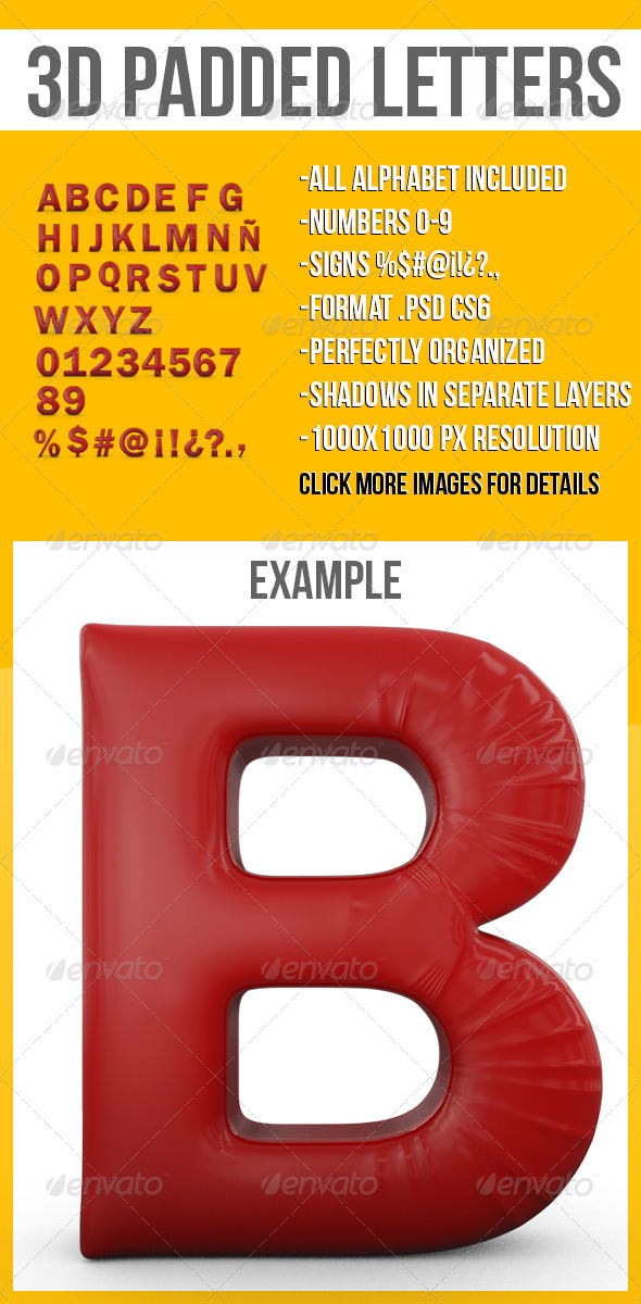 3D Padded Letters - Text 3D Renders