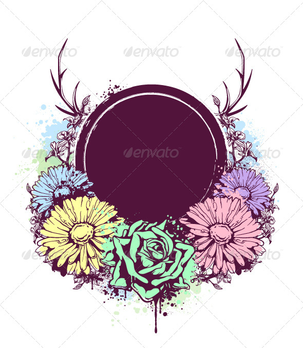 Grunge Circle Banner with Flowers - Vectors